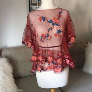 ZARA Sheer red top with turquoise floral appliqué